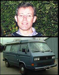 Photo of Dean Lewis in front of bushes. Also a photo of the 1987 Volkswagen
