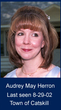 head photo of Audrey May in front of house - Text on photo: Audrey May Herron, Last Seen 8-29-02, Town of Catskill
