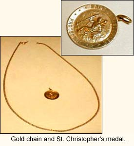 Gold chain and St. Christopher's medal.