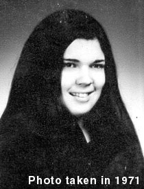 black and white head photo of Valarie Lorraine Cuccia, taken in 1971